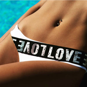 LOVE Colorblock Strap Bikini Set