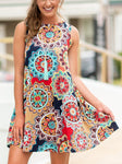 Floral Printed Sleeveless Mini Dress