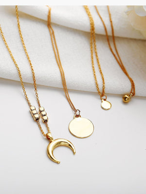 Choker Necklace for women Long moon Tassel Pendant Chain Necklaces