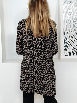 Long Sleeve Leopard Printed Cardigan