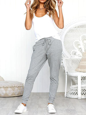 Striped Tie Loose Trousers-Bottoms-Vivimuses.com