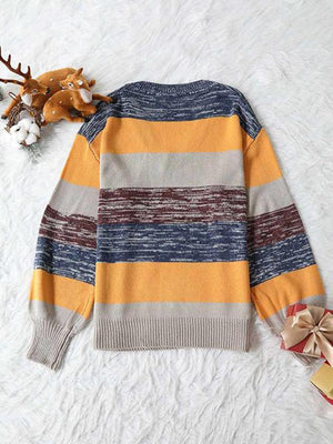 V-Neck Striped Sweaters