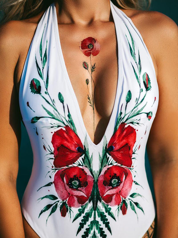 Deep V Floral Printed Swimsuit