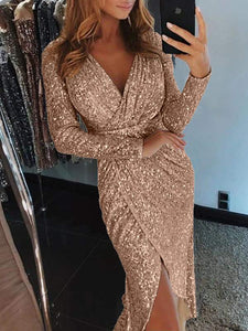 V-Neck Sequin Wrap Midi Dress