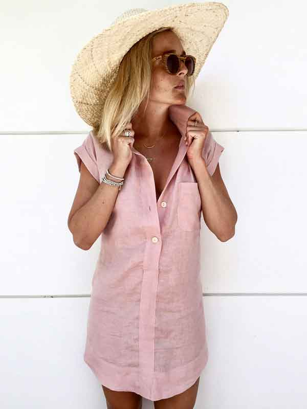 Pure Casual Short-sleeved Blouses