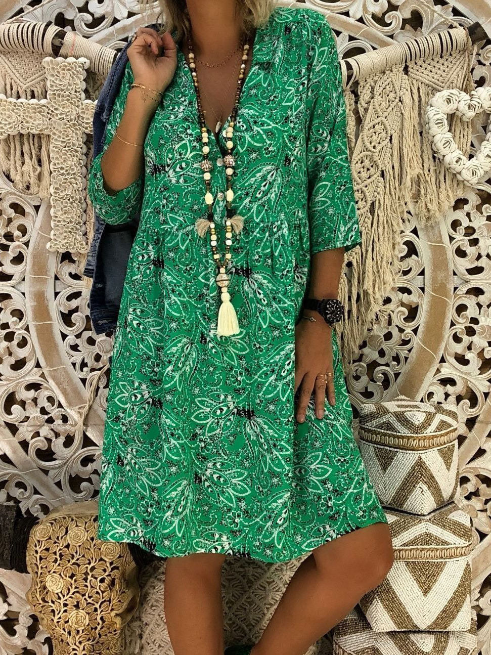 Plus Size Loose Floral Printed Dress Blouses