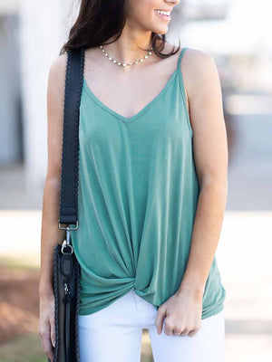 Solid V-neck Tank Top
