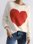 Heart Drop-Shoulder Long Sleeve Sweater