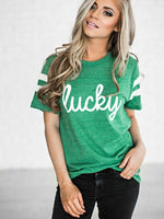 Free Shipping Splice Shamrock lucky Tops