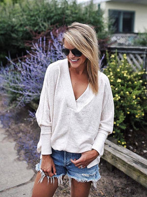 V-neck Puffed Sleeves Split T-shirt
