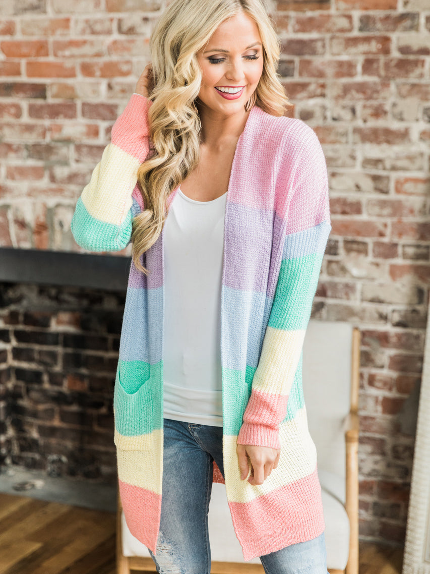 Rainbow Striped Splice Sweater Cardigan