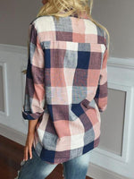 Long Sleeve Plaid Printed Blouse