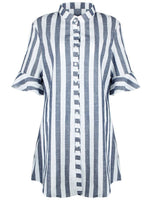 Blue And White Striped Mini Dress
