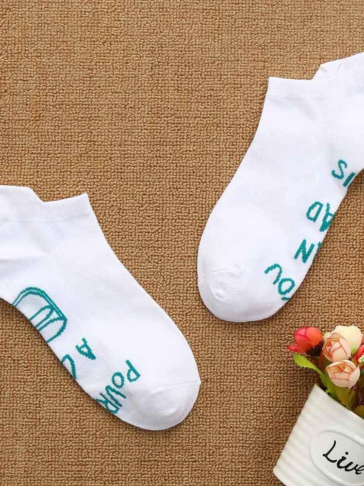 If You Can Letter Printed Short Socks