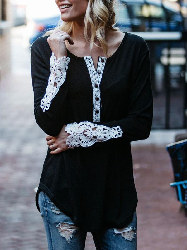 Lace Split Long Sleeve T-shirts with Button