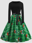 Shamrock Long Sleeve Splice St Patricks Day Dress