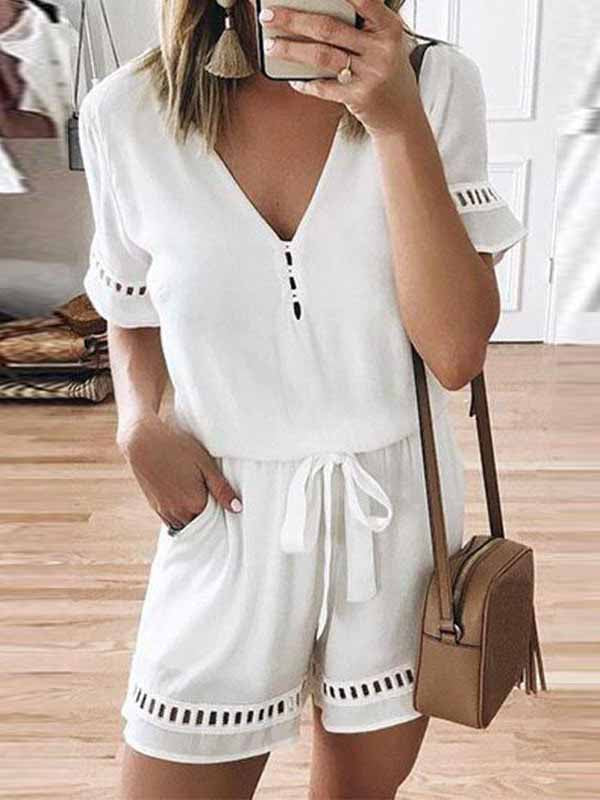 Solid Color Lace Up Jumpsuits