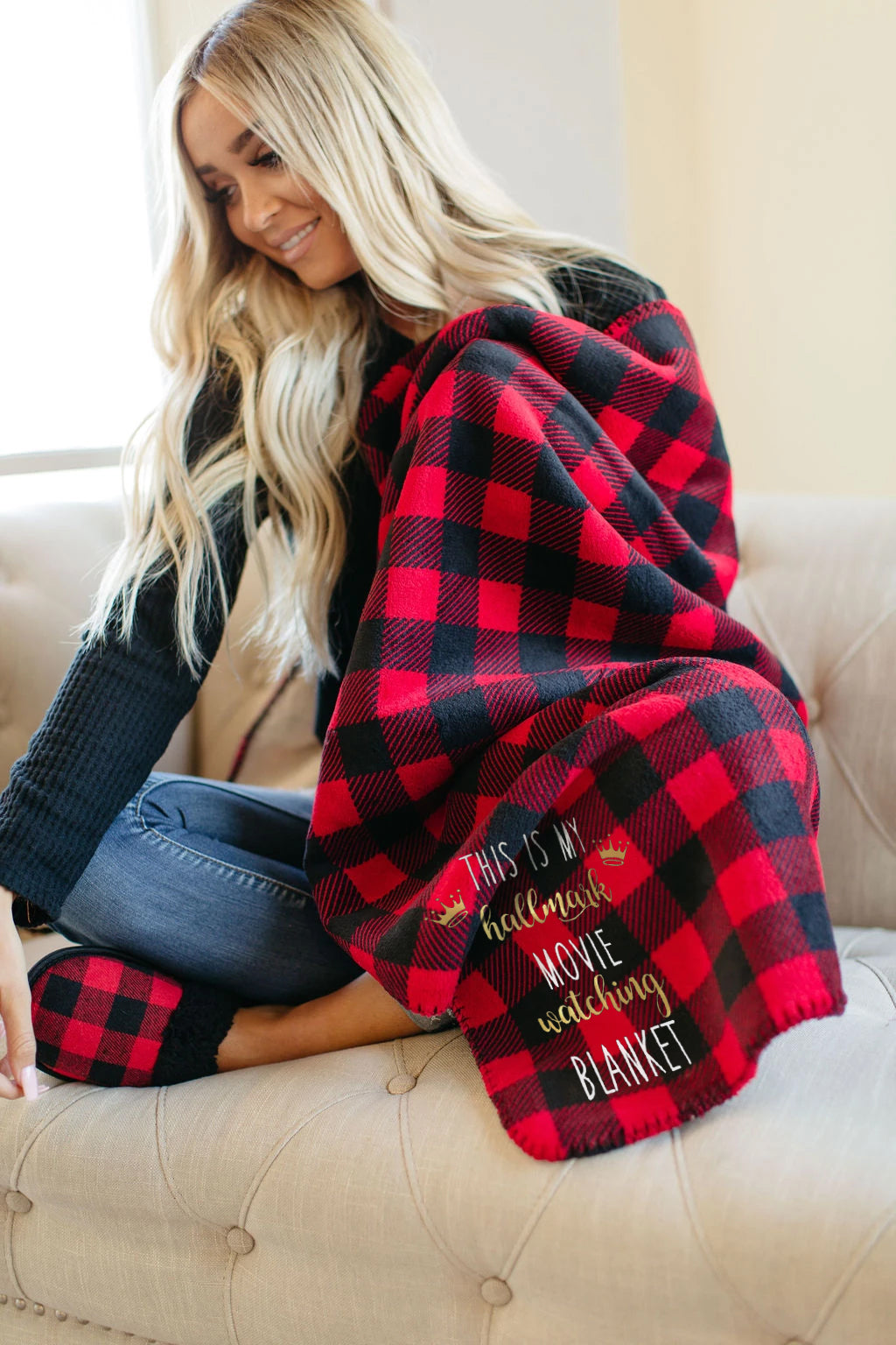 Hallmark Christmas Movie Watching Plaid Blanket