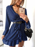 Deep V Stripe Print Dress