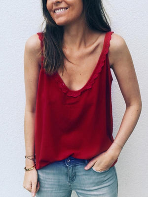 Deep V-neck Lace Button Top