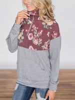 Floral Printed Zipper Long Sleeve Sweatshirts