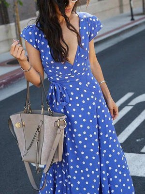 Polka Dot V-Neck Front Vent Dress-Maxi Dress-Vivimuses.com