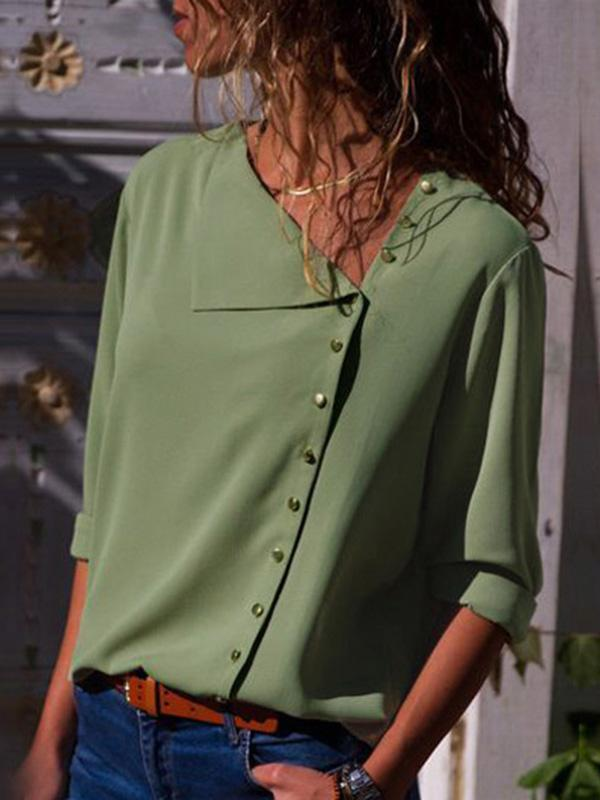 Irregular Button Collar Shirt-Blouse-Vivimuses.com