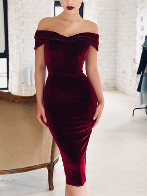 Off Shoulder Split Midi Dress