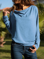 Solid Color Bat Long Sleeve Blouse