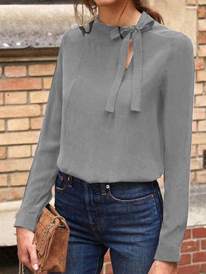 Cut Out Tie Neck Casual Blouse