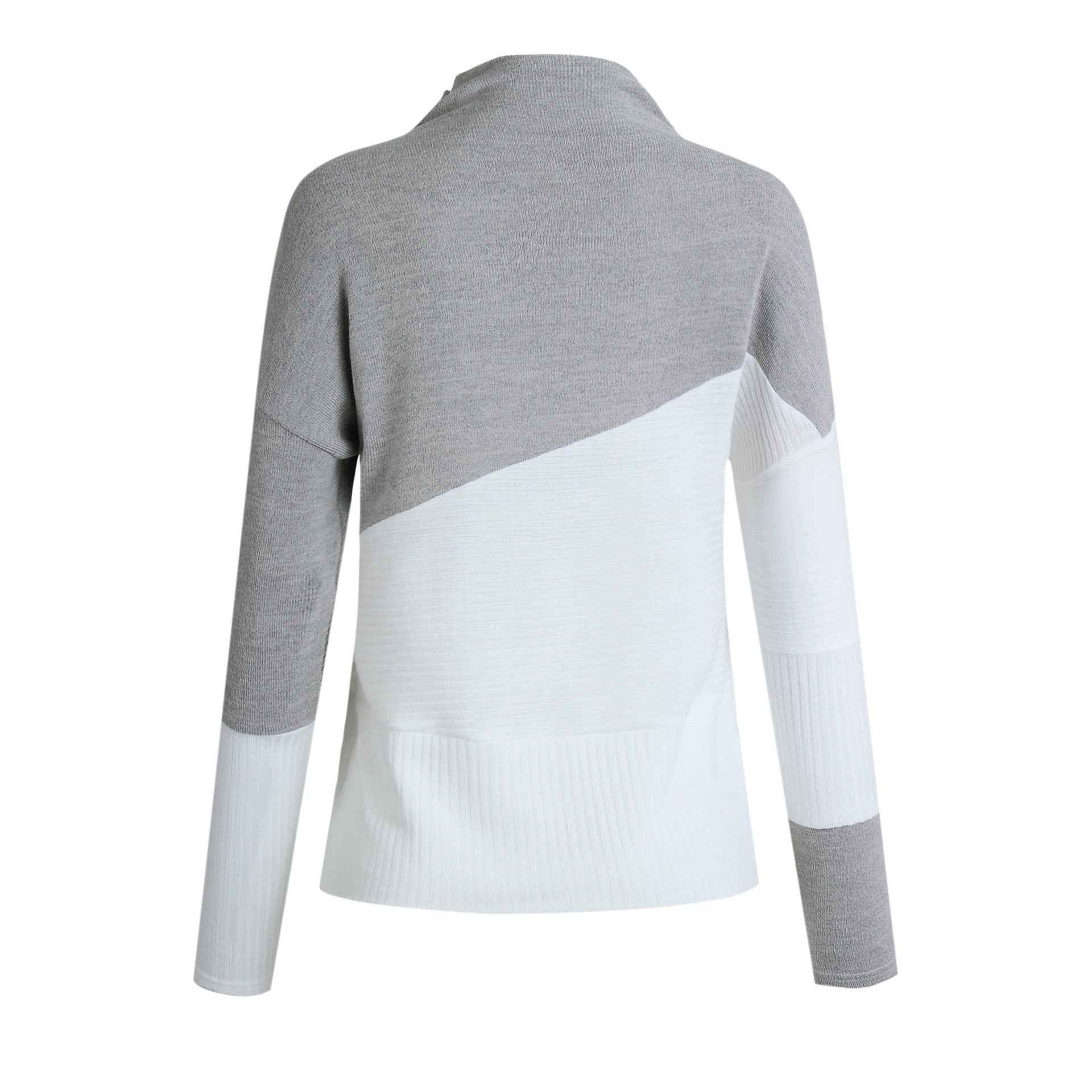Splice Long Sleeve High Neck Knit Sweatshirt