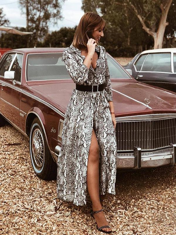 Snake Printed Roll-Up Sleeve Maxi Dresses