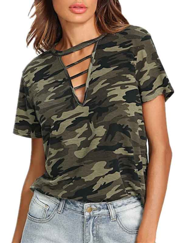 Hollow Camouflage Printing T-shirts