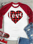 Love Heart Letter Baseball T-Shirt