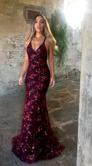 Spaghetti Strap Lace-Up Glitter Plain Evening Dress