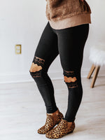 Hollow Out Knee Lace Leggings