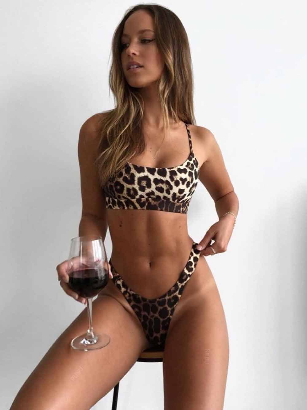 Leopard Print Push Up Bikini Set