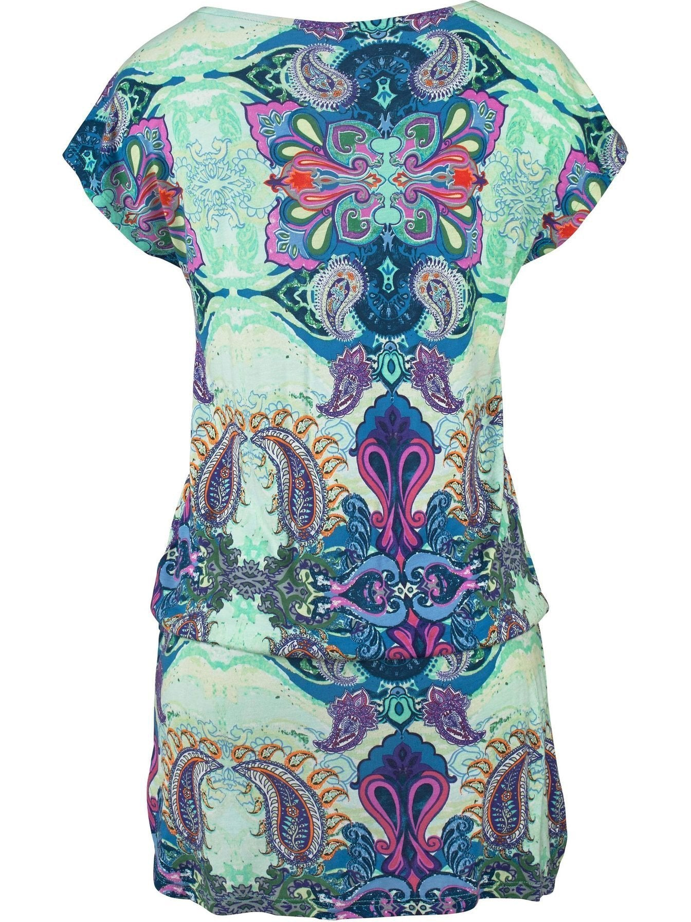 Printed Short-sleeved Beach Dress