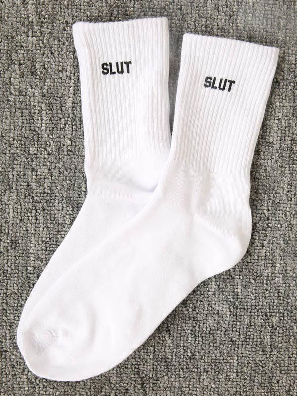 Letter Printed Long Socks
