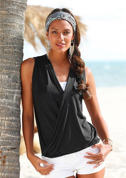 Deep V-Neck Sleeveless Tanks-Tanks-Vivimuses.com-Black-S-Vivimuses.com