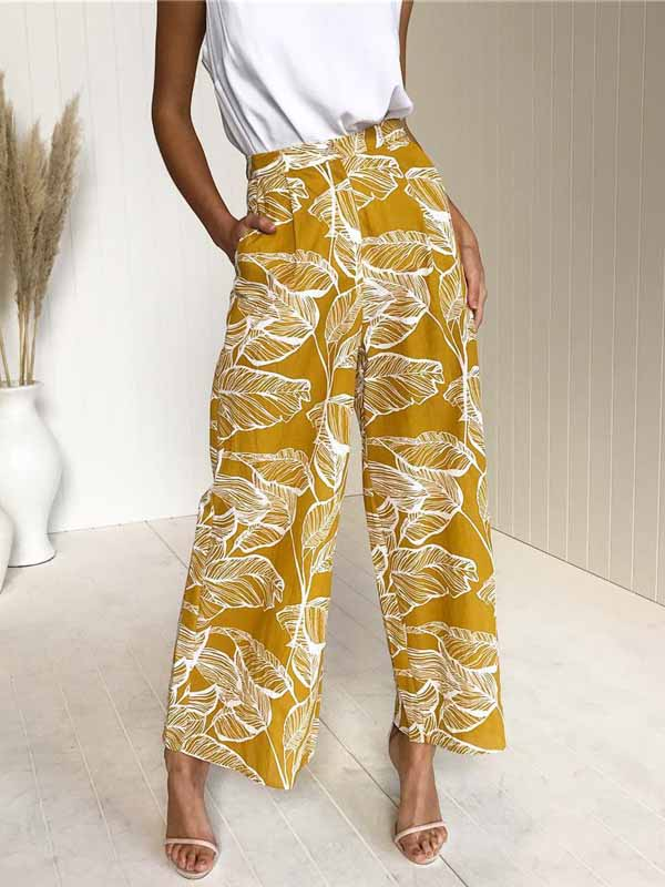 Leaves Print Straight Wide Leg Pants