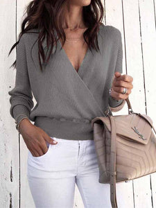 Solid Color Deep V Long Sleeve Sweater
