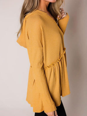 Solid Hooded V-Neck Long Sleeve Blouse