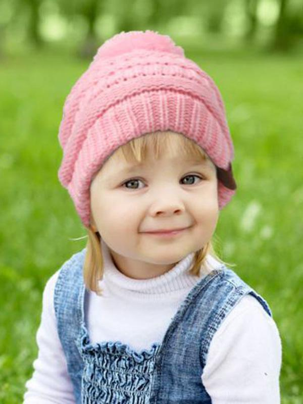 Wool Ball Knit Pullover Hat Children