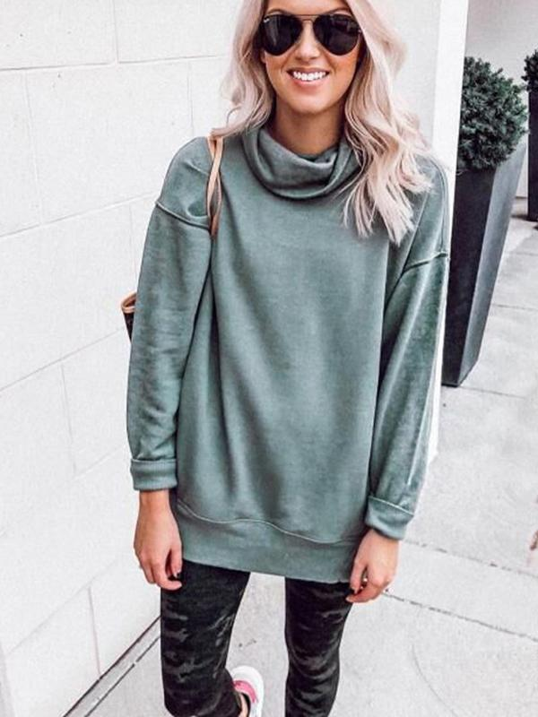 Pile Collar Long Sleeve Plain Sweatshirts