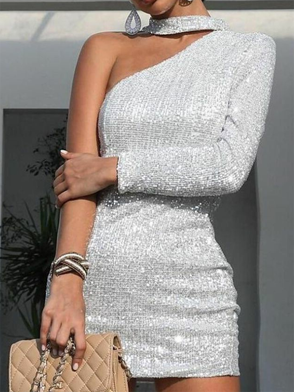 Shiny Asymmetric Strapless Evening Dress