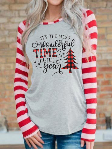It's The Most Wonderful Time Of The Year stripe T-Shirt