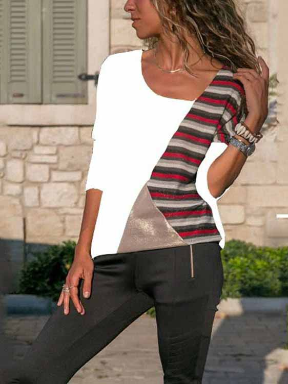 Splicing Contrast Striped Casual T-shirt