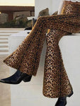Leopard Printed Flare Pants