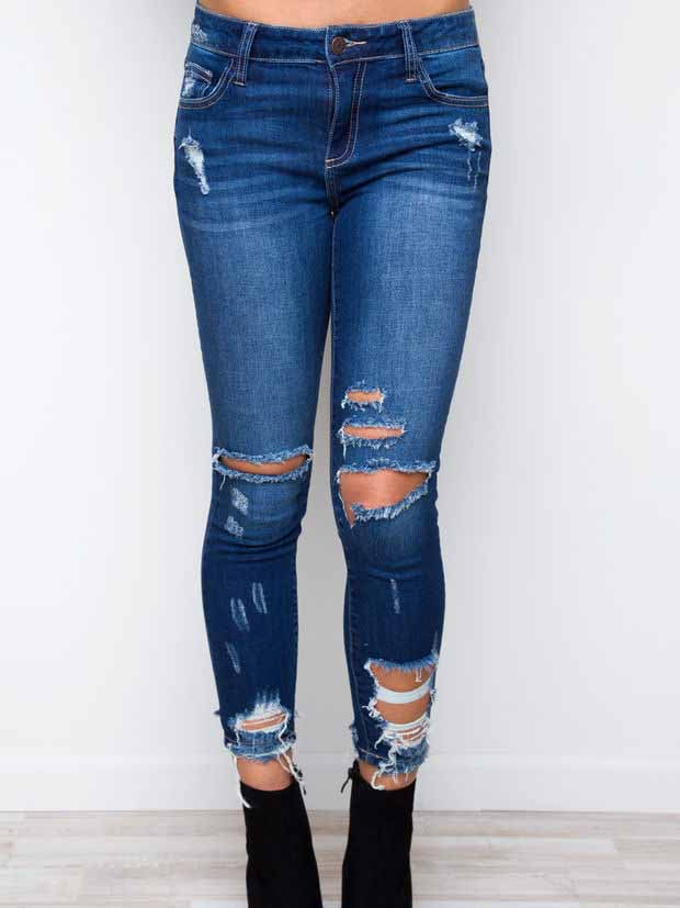 High Waist Denim Hole Jeans